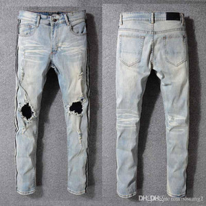 Wholesale Fashion Mens foreign trade light blue black AMIRI jeans pants motorcycle biker men washing to do the old fold men Trousers Casual Runway