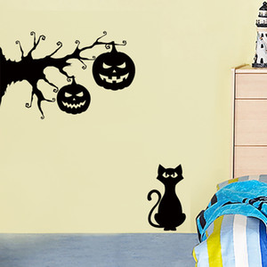 Wholesale New Black Cat Under The Tree Halloween Wall Stickers Black Pumpkin Light Creative Decorative Wall Stickers