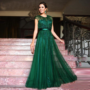 Wholesale Emerald Green Evening Dresses A-Line Sequins Tulle Floor-Length Jewel Neck vestidos festa with Satin Sash Prom Dresses Party Gown