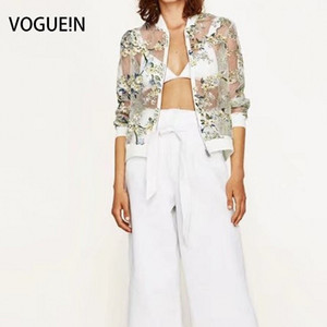 Wholesale VOGUEIN New Womens Summer Floral Print Long Sleeve Bomber Jacket Organza Sunblock Coat Size SML