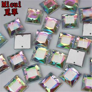 200pcs 10*10mm AB color Superior Taiwan Acrylic Crystal Square Shape Flatback Rhinestones Sew On 2 holes ZZ699g