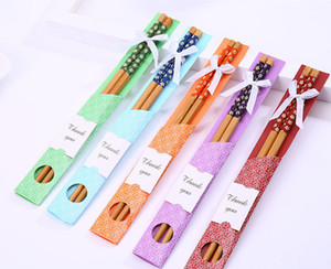 Wholesale Hot China East Meet West Natural Bamboo Chopsticks Tableware Wedding Favor Party Gift Souvenirs