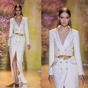 2020 New White Split Long Prom Runway Dresses Long Sleeves Sexy V-Neck Formal Engagement Evening Gowns with Golden Belt on Sale