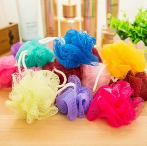 Wholesale Mesh Colorful Nylon Bath Flower Towel Bathing Spa Shower Scrubber Wash Bath Ball Colorful Bath Brushes Sponges g GGA49