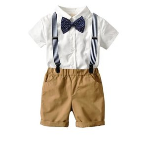 Wholesale INS Kids Boys Casual Suits Summer Gentleman England Style Tatting Cotton Shirts+Bow Tie+Belt+Pants 4pcs Set Children Kids Boys Clothing Sets