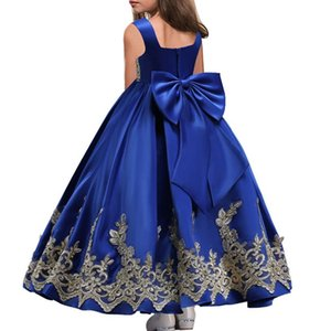 Wholesale Gold Appliqued Long Flower Girl Dresses Big Bow First Communion Dresses Girls Pageant Dress Kids Prom Dress