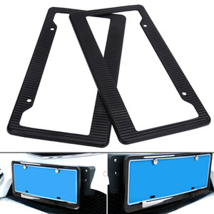 Wholesale 2pcs Carbon Car License Plate Frames Tag Covers Holder For Vehicles USA Canada Standard Car Styling License Plate Frame
