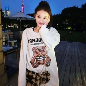 New 2020 thin model hoodie winter season embroidery cotton bear plus flannelette sweater for couples round neck