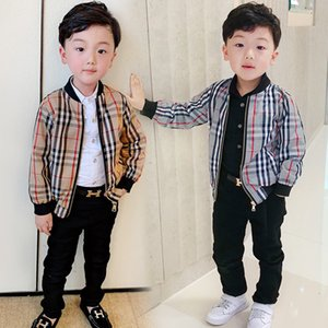 New Fashion Spring Baby Clothes Brand Windbreaker Kids Clothing Boys Jacket Outdoor Sports Zipper Coat Children Classic Plaid Outwear Blouse on Sale