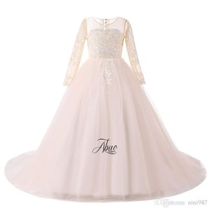 Wholesale dresses for kids for sale - Group buy Champagen Ball Gown Flower Girls Dresses with half sleeve Scalloped Neck Full Length Princess Kids Gowns For Wedding Baby Gowns