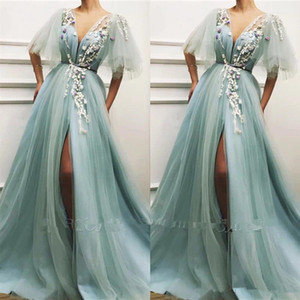 Wholesale 2020 Fairy Sheer Sleeveless Evening Dresses A Line V Neck High Split Tulle Floor Length Pageant Celebrity Gowns Appliqued Prom Dress BC2579