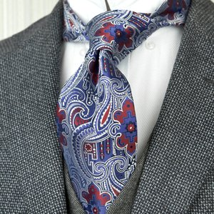 Wholesale F24 Multicolor Navy Blue Red Pattern Floral Mens Ties Neckties 100% Silk Handmade Gorgeous Casual Business Formal