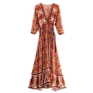 Wholesale Long Boho Dress Rayon Floral Print Sexy V Neck Hippie Summer Dresses Chic Beach Women Dress Bohemia Wrap Dresses