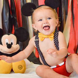 2018 Fancy Newborn Baby Boy Girl Outfit Yellow Bow Tie+Pants Straps+Red Short Trousers 3Pcs Kids Costume Birthday Gifts Summer Y190515