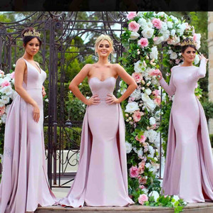 2019 Light Purple Bridesmaid Dresses With Train Custom Made Satin Mermaid Prom Dress Party Gowns Appliqued Elegant Evening Gown