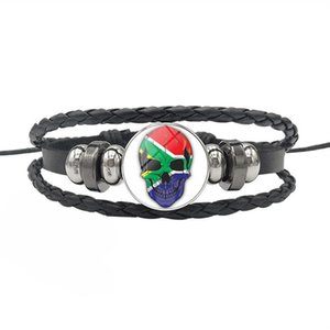 Wholesale Black Vintage Genuine Leather Rope Beaded Bracelets for Women Men South Africa National Flag Time Gem Glass Dome Skull Series Button Jewelry