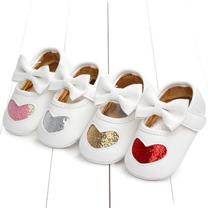 Wholesale New Born Baby Girl Shoes Princess Infant Newborn Toddler Shoes Cute Heart Print Baby Girl Baby Booties First Walkers