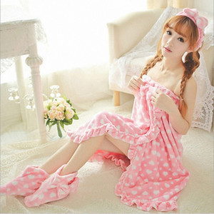 Hot sale! Cute Sweet Bath Skirt Hair Band Shoes Three-piece Flannel Thick Sexy Pajamas Soft Comfortable Bath towel