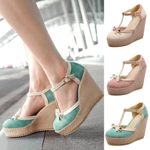 Wholesale Women Shoes Sandals Ladies Platform Wedges Shoes Female Bowknot Buckle High Heel Sandals Sandalias de mujer dropshipping