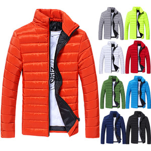 Mens Spring Autumn Down Jackets Thin Slim Fit Coats Cotton-padded Solid Color Long Sleeved Jacket Outerwear