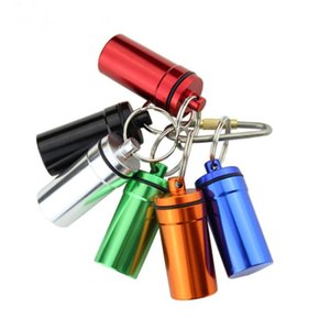 Wholesale waterproof key box for sale - Group buy Mini Survival Waterproof Pills Box Aluminum Medicine Bottle Key chain Portable Outdoor Pills Storage Holde NO322