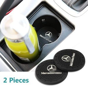 Wholesale 2 Pcs 2.75 inch Car Interior Accessories Anti Slip Cup Mats for Mercedes-Benz S Serie,E Serie,C Serie,W Series,A Series,etc All Models