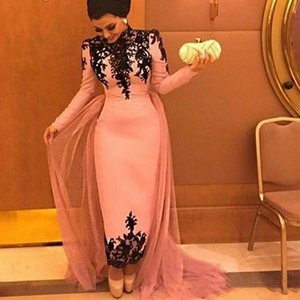 Wholesale Elegant Arabic Pink Sheath Evening Dresses With Black Lace Applique New 2019 Muslim Detachable Overskirt Long Sleeves Prom Party Wear Train