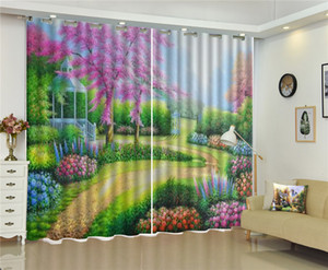 Wholesale Curtain Beautiful Spring Flowers Full Of Oil Painting Landscape HD Digital Printing Beautiful Curtains Natural Beautiful d Curtains