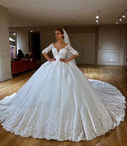 2019 Luxury Ball Gown Wedding Dresses Lace Applique Beaded Chapel Train Princess Wedding Dress Country Luxury Bridal Gowns abiti da sposa