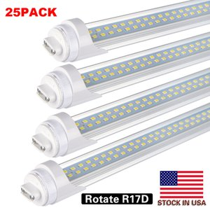 "25Pack,T8 T10 T12 8FT LED Tube Light,8ft LED Bulbs,R17d HO Rotating Base,90W 8500LM,5700k , 96"" Dual Row LED Fluorescent Bulbs Clear Cover"
