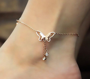 Anklet girl jewelry temperament hollow butterfly double diamond tassel rose gold anklet rose gold jewelry design on Sale