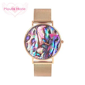 Mavis Hare Coral Red REAL Abalone Shell Wristwatch with Stainless Steel Mesh Bracelet Bands Ocean Series Watches with Box Pack