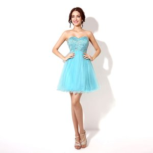 Cheap Short Lace Up and Sweetheart with Beads Homecoming Party Dresses With Beads Prom Dresses Custom Made SD034 on Sale