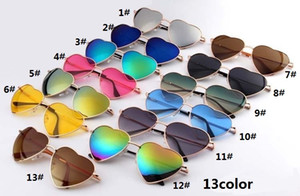 Wholesale Hot new heart shaped sunglasses ladies metal reflective lens fashion sunglasses men and women mirror new party gift WCW11