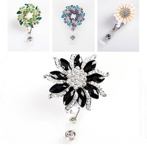 Wholesale Nurse Badge Reel Clip Fashion Rhinestone Bling Flower Series Students IC ID Card Badge Holder New Design
