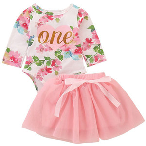 2019 New 2pcs Cute Baby Girls Clothes Set One Year Birthday Girl Tutu Skirt Romper Newborn Princess Party Cake Smash Outfits Y19061303 on Sale