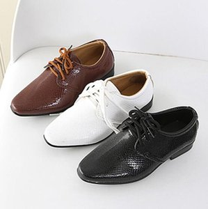 Wholesale brown shoes for children resale online - 2020 New Kids Genuine Leather Wedding Dress Shoes for Boys Brand Children Black Wedding Shoes Boys Formal Wedge Sneakers