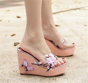 Wholesale PXELENA Design Butterfly Flower Slides Womens Plastic Wedge High Heels Summer Slippers Lady Beach Date Flip Flops Novelty Shoes