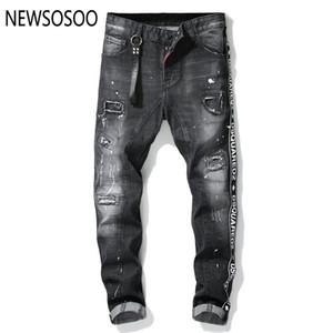 Wholesale European American Style famous brand mens jeans luxury Men straight denim trousers zipper hole Slim black jeans for men