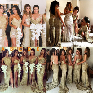 Wholesale maid honor dresses bling resale online - 2020 Sexy Sparkly Bling Gold Sequined Mermaid Bridesmaid Dresses Backless Slit Plus Size Maid Of The Honor Gowns Wedding Dress
