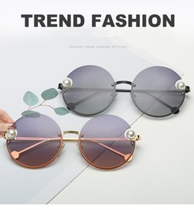 2183 Gold Round Sunglasses with Pearls Sun Glasses Women Brand Designer sunglasses Shades Top Quality New With Box