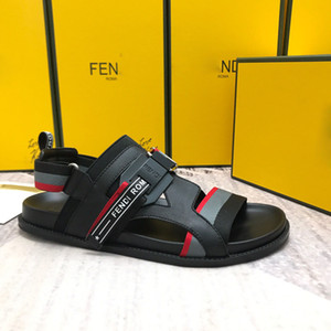 Wholesale Newest Luxury designer mens elastic Letter flats Sandals Novelty high quality summer Branded gladiator sandals casual shoes With box