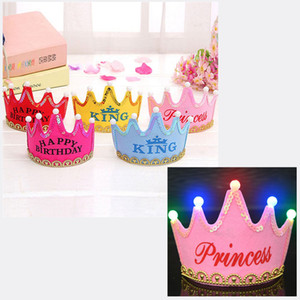 Wholesale Party Hat Flashing Light Cap Headband Adult Children Princess Crown Cap Happy Birthday Decoration LED Luminous Children Birthday