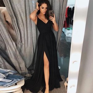 Cheap A Line Black Evening Dress V Neck Sleeveless Side Split Elegant Floor-Length Custom Made Formal Gowns Prom Party Dress 2019 New on Sale