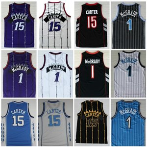 High-Quality Black White Purple Vince #15 Carter Jersey Tracy #1 McGrady Jersey North Carolina College Men Blue White Penny 1 Hardaway shirt
