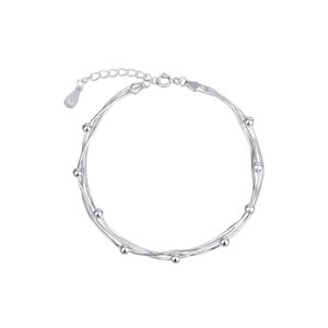 Wholesale S925 sterling silver bracelet triple octagonal snake bone chain smooth round beads web celebrity fashion trend hot style direct jewelry