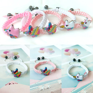 Wholesale New unicorn Knitting bracelet styles Kids Animals accessories Baby girl Cute jewelry Pendant Chain gift for Children JY460