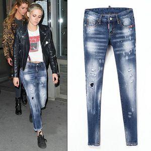 Italy brand D2 Ladies Stretch Ripped Sexy Skinny Jeans Womens Slim Fit Denim Pants Slim Denim Straight Biker Skinny Ripped Jeans pants