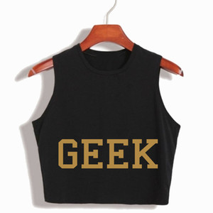 Wholesale Harajuku Geek Letter Printed Women s Sexy Loose Crop top Japanese Hip Hop Style Cotton Sleeveless cropped female camisole tops