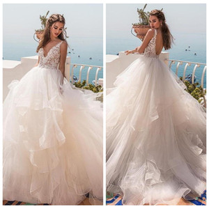 Wholesale Modern Cascading Ruffles Ball Gown Wedding Dresses V neck Backless Tiered Tulle Chapel Bridal Dress Sweep Train Princess Wedding Gown